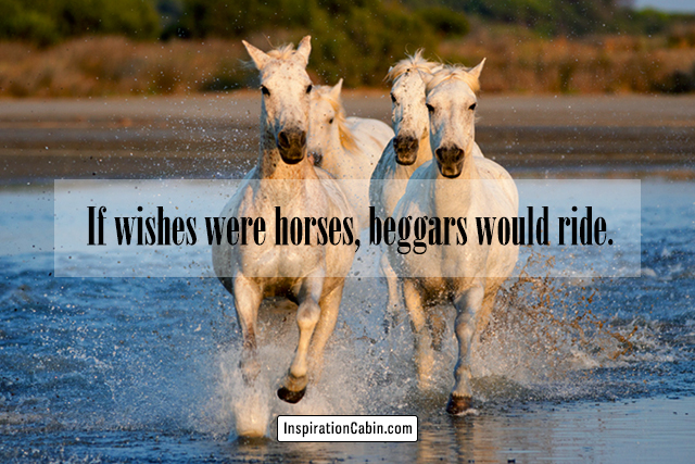 If wishes were horses, beggars would ride.