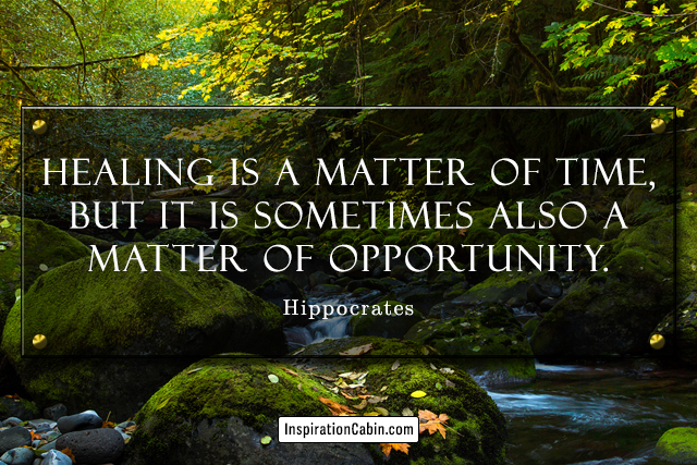 Healing is a matter of time, but it is sometimes also a matter of opportunity.
