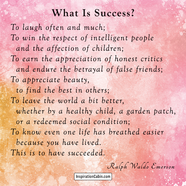 Success poem by Ralph Waldo Emerson