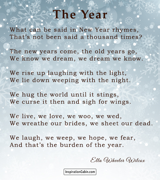 The Year by Ella Wheeler Wilcox