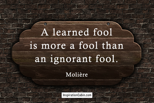 A learned fool is more a fool than an ignorant fool.