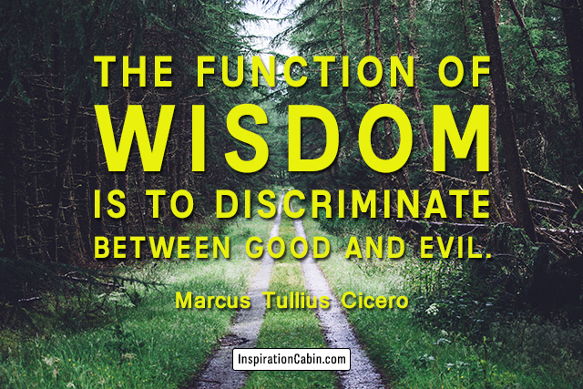 The function of wisdom is to discriminate between good and evil.