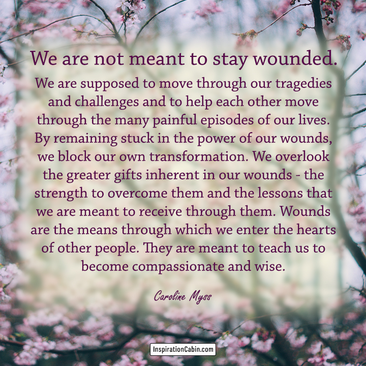 We are not meant to stay wounded. We are supposed to move through our tragedies and challenges and to help each other move through the many painful episodes of our lives.