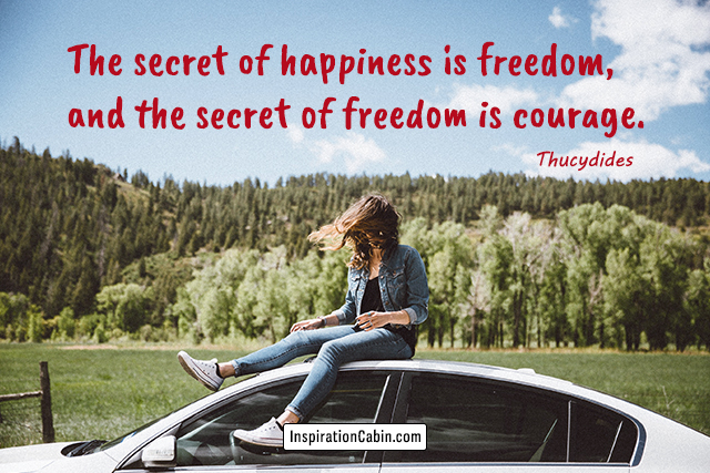 The secret of happiness is freedom, and the secret of freedom is courage.