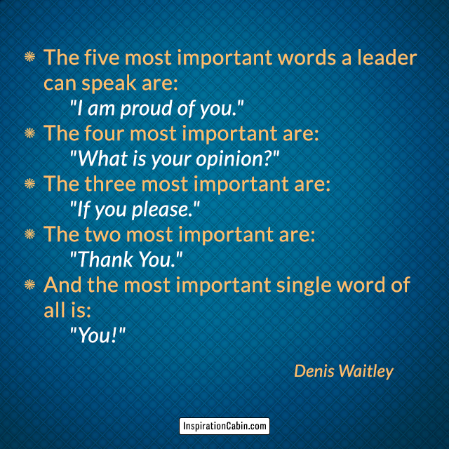 The five most important words a leader can speak