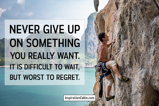 Never give up on something you really want.