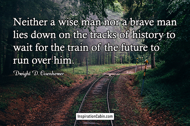 Neither a wise man nor a brave man lies down on the tracks of history to wait for the train of the future to run over him.