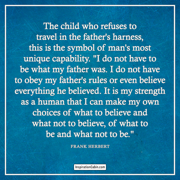 The child who refuses to travel in the father's harness