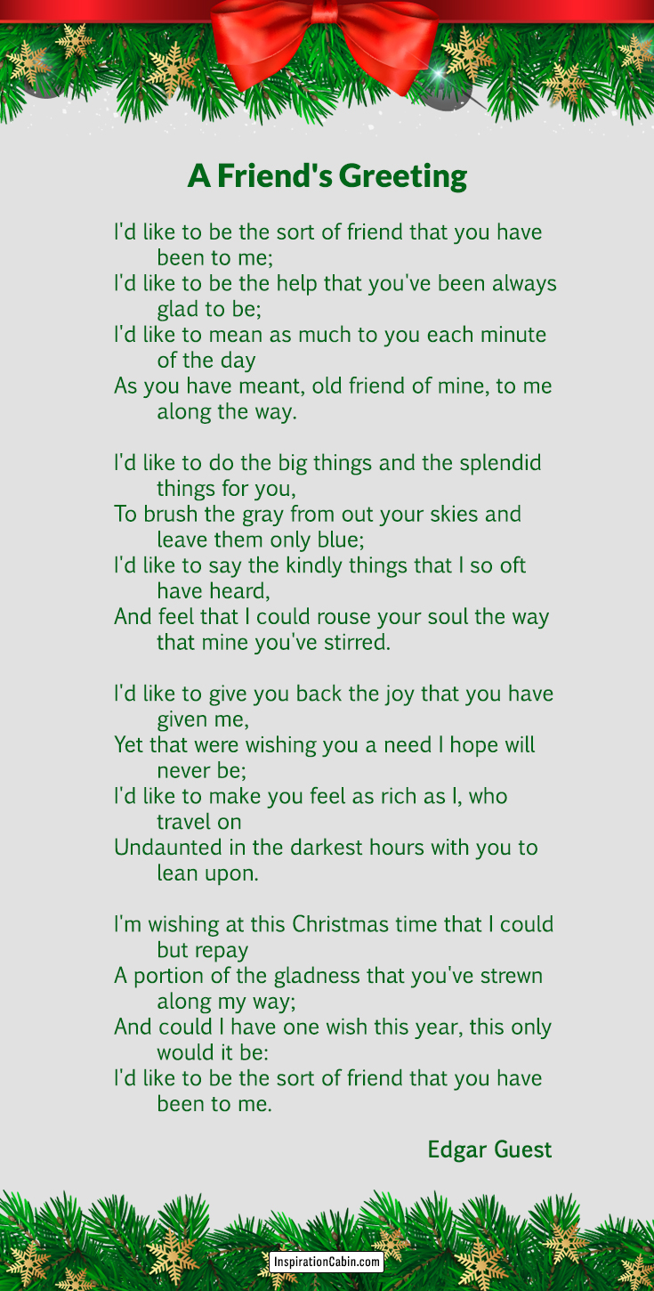 A Friend's Greeting is a Christmas poem by Edgar Guest