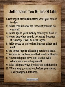 Jefferson's Ten Rules Of Life