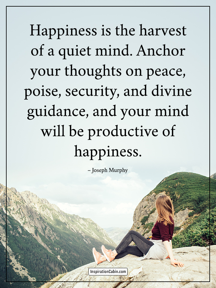 Happiness is the harvest of a quiet mind.