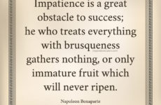 Impatience is a great obstacle to success